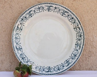 French vintage blue and white ironstone plate