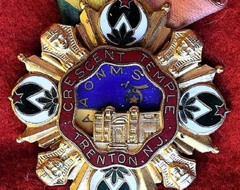 Shriners New Jersy Crescent Temple Medal with Ribbon