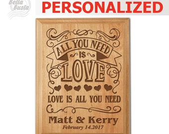 Personalized All you need is love, Love is all you need- Engraved Natural Wood Plaque