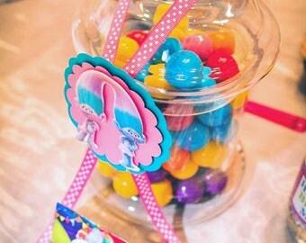 Trolls Candy Jar Tags