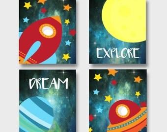 Outer Space Nursery Art, Spaceship nursery art, moon nursery art, Stars nursery art, Boys nursery art, nursery decor, framed nursery art
