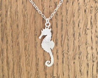 Etched silver seahorse necklace, hallmarked