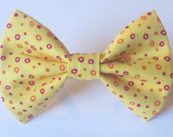 Red and Orange Circles on Yellow Bow Tie- All Sizes