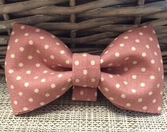 Pink Polka Dot Dog Bow Tie