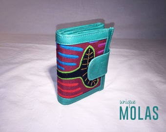 Handmade Mola and Leather Wallet