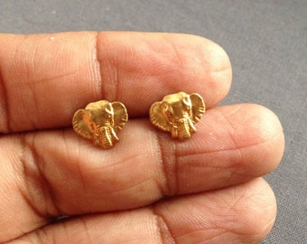 karasi - brass elephant stud earrings