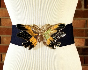 Vintage Butterfly Enamel and Elastic Waist Belt, Butterfly Belt, Vintage Butterfly, Vintage Navy belt, Navy Belt, Navy Butterfly Belt