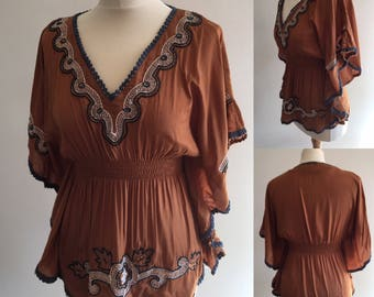 Vintage Boho Embellished Cape Blouse - UK Size 10/US Size 6