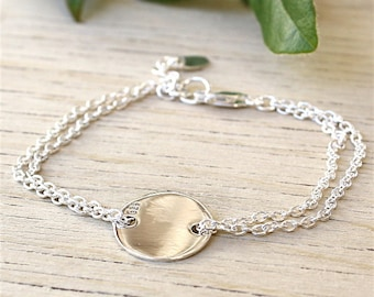 925 solid silver bracelet double chain and medal