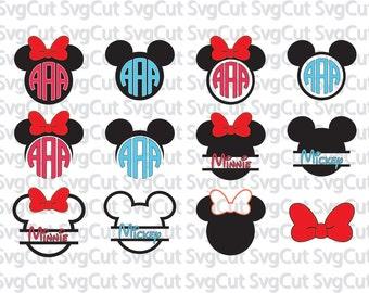 Mickey Mouse SVG, Monogram Minnie Mouse,Svg Mickey Head, Svg Frame ,SVG DXF Silhouette Studio,  Silhouette Cricut Disney head monogram