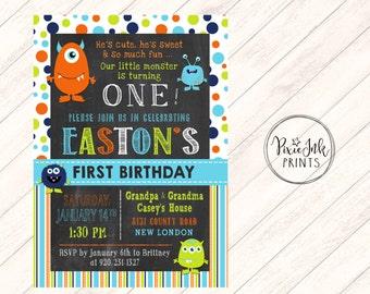 Monster First Birthday Invitation, Monsters 1st Birthday Invitation, Monsters Invitation, Monsters Birthday Printable, Monsters 1st Birthday