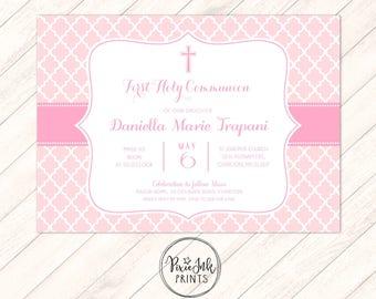 Pink Damask Communion Invitation, Pink 1st Communion Invitation, Pink Girl Communion Invitation, DIY Communion Printable