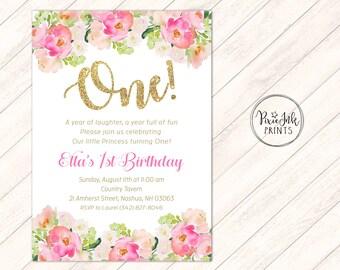 Girls 1st Birthday Invitation, Pink & Gold First Birthday Invitation, Gold Accent 1st Birthday Invitation, Floral Birthday Invite, Printable