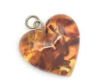 Vintage Natural Baltic Amber Heart Pendant