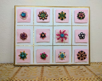 Quilled flowers on canvas, wall decor, Flower wall art, Home decor,mother's day,  quilling canvas art, Quilled 3D art , Quilling on canvas