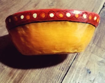 Sermel Paper Maché Bowl hand painted Jalisco Mexico