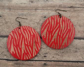 Earrings / Wood Earrings / Red Earrings / Blue Earrings / Zebra Stripe Earrings