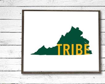 William & Mary Tribe Virginia Green/Gold Printable Download - College/University/Dorm Decor, Wall Art Sign, Graduation Gift