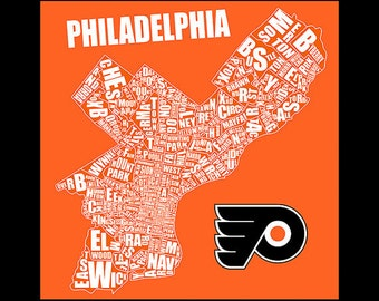 Philadelphia Typography Flyers Map 20x20