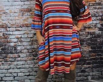 Plus Size Serape Dress, serape, plus size, stripes, dress, tunic