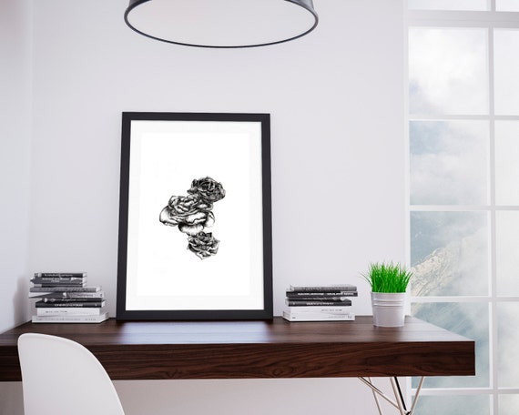 Flower wall print, Flower room decor, Peony poster, Girl room wall print, Plant poster, Plant art,Home decor, Digital Art, Printable Art.