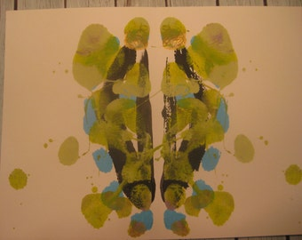 "Original Inkblot Art, Psychology Art, Therapy Art, Therapy Office Art, Conversation Art ""Under the Mask"""