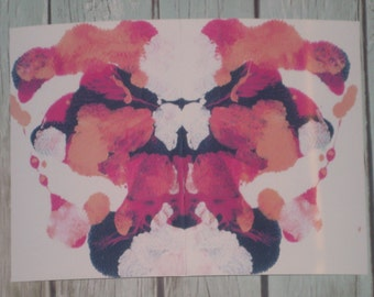 "Inkblot Art PRINT, Psychology Art, Therapy Art, Therapy Office Art, Conversation Art, 5x7 Art PRINT, ""Buzzing Blooms"""