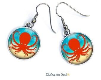 Boucles d'oreilles pieuvres,fond des mers, océan /ref.254