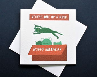 one of a kind card, hoppy birthday card, funny frog card, frog birthday card, funny frog card,