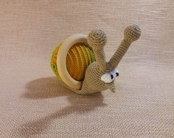 Crochet Snail rattle, Crochet rattle, Baby rattle toy, cotton rattle, crochet toy, Baby Shower gift, teething toy, rattle toy, baby toy