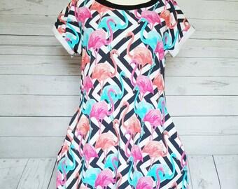 Flamingo dress,flamingos dress,womens summer dress,a line dress,Flamingo gift,Flamingo dress with pockets,short sleeve dress,Flamingos dress