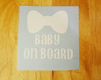 Baby On Board car decal in white