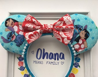 Lilo and Stitch Mickey/MInnie Mouse Ears, Lili Ears, Stitch Ears, Disney Ears, Lilo Mouse Ears, Ohana Mouse Ears, Custom Disney Ears,