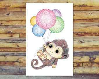 Printable Card, Cute Monkey All Occasion Card, Digital Download Art, Blank Greeting Card, Instant Download, Monkey With Balloons Pencil Art