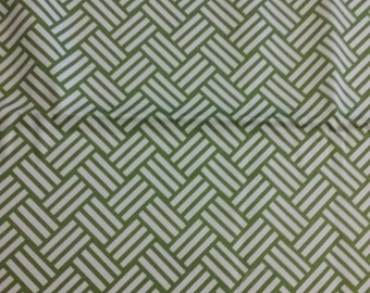 Home decor fabric, green and white, fabric, remnant, fabric remnant, emerald green fabric, geometric fabric, green and white fabric