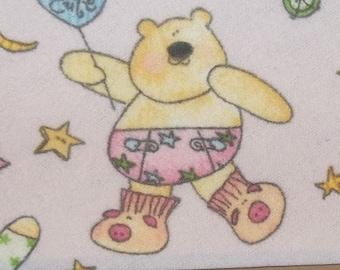 Cute Little Teddy Bears in Pajamas on Pink Flannel Fabric OOP