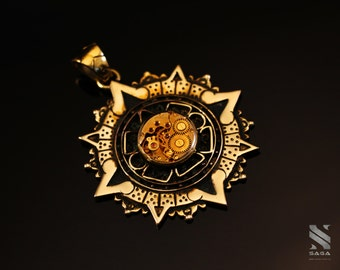 CHRONOS PENDANT 1.1 / Antique Swiss Watch Movement / Mayan Calendar / 24k Gold Plated Silver Necklace / Steampunk Goth Vintage / Quantum