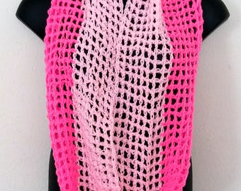 Pink Double Circle Scarf/Infinity Scarf/Cowl Scarf/Pink Scarf/Pink Cowl Scarf