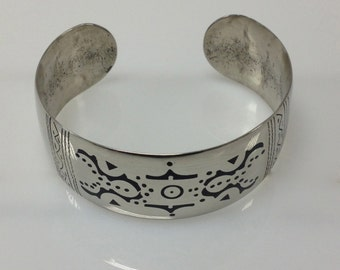 Tuareg Silver and Ebony Cuff Bracelet