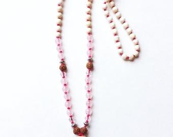 Mala in turquoise and quartz pink fuschia wireline