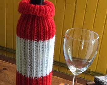 Austrian flag knitted wine bottle cover