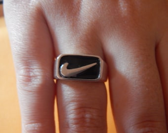 Nike Ring 925 silver with black enamel ( new with red enamel )