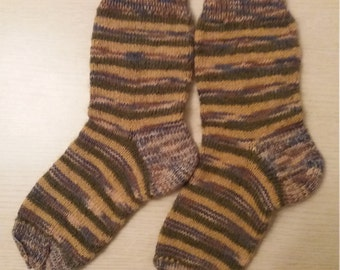 Handmade woman knitted socks, warm, very soft, wool, mohair, acrylic, 37-39 (US 6.5-7.5) size, striped socks, вязаные носки