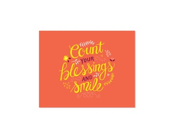 Count Your Blessings and Smile 8x10 Print