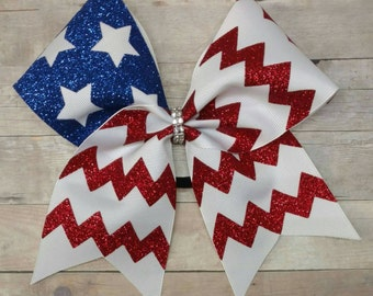 Flag cheer bow, american flag cheer bow, big softball bow, big cheer bow, glitter cheer bow, custom cheer bow, flag hairbow, 4th of July