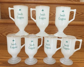 Seven 1970s Vintage Irish Coffee White Glass Gold Rimmed Pedestal Mugs or Cups