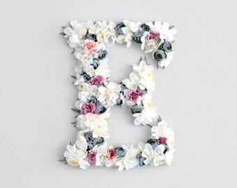 Flower letter nursery decor wall art. Custom letter for personalized nursery. Perfect baby shower gift, birthday gift, gift for her.
