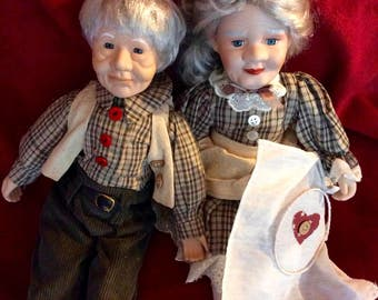 Grandma and Grandpa Porcelain Doll Set