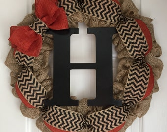 Fall Monogram Wreath - Fall Letter Wreath - Fall Wreath for Front Door - Burlap Monogram Wreath - Burlap Letter Wreath