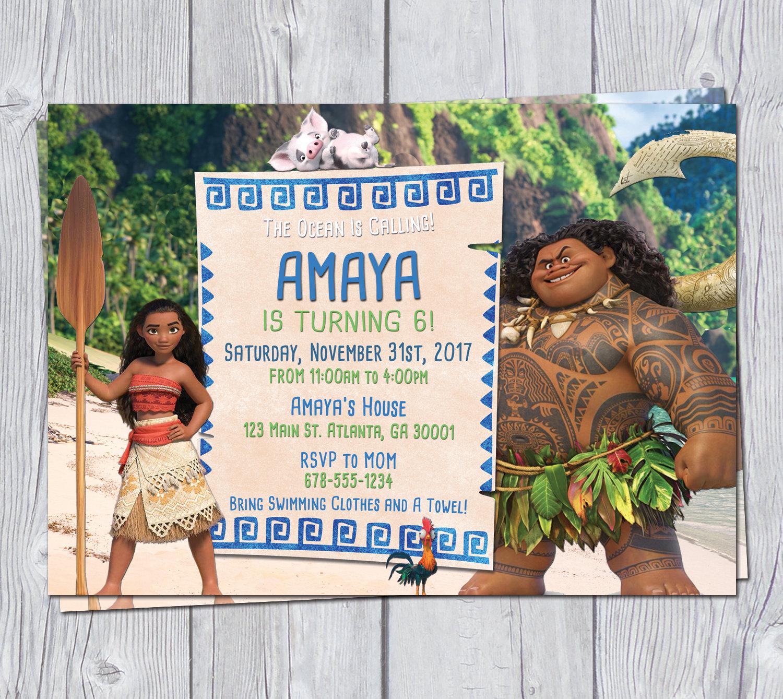 Moana Invitation 7x5 Moana Birthday Invitation Moana Party